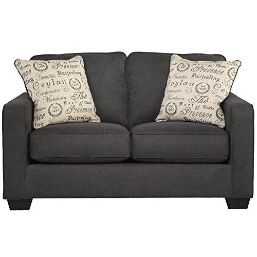 Flash Furniture Signature Design by Ashley Alenya Loveseat in Charcoal Microfiber -  FSD-1669LS-CH-GG