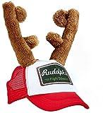 shoperama Rudolph Kappe mit Rentier Geweih Hut Cap Weihnachts-Mütze Hirsch Hörner Weihnachten Käppi Basecap