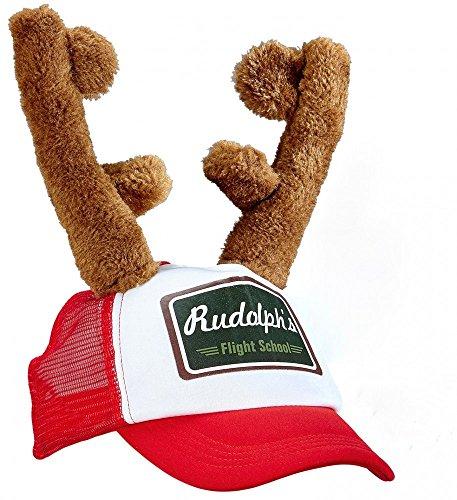 Shoperama Cappellino Rudolph con renna e corna di cervo, cappello di Natale, cappellino da baseball