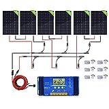 ECO-WORTHY kit completo di pannelli solari 720 Watt 12 Volt per accumulo di energia: 6 pannelli fotovoltaici con controller 60A per campeggio, barche, tende e impianto di illuminazione