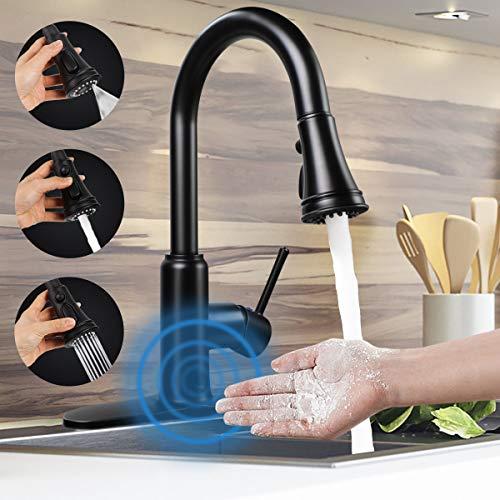 Grifo de cocina con sensor de movimiento sin contacto, grifo de cocina automático extraíble de una sola manija / 3 agujeros de 3 ajustes de grifo de cocina sin manchas, sin plomo, color negro mate