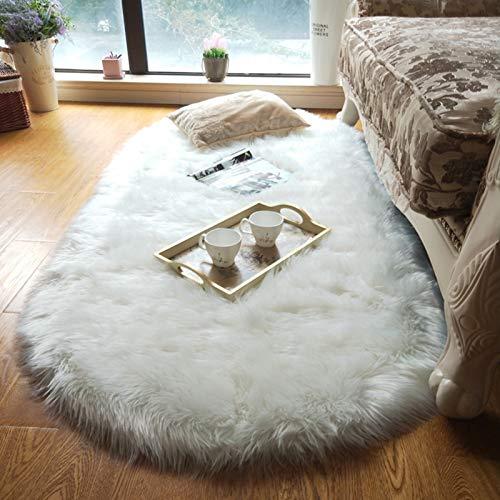 Maschinenwäsche Geeignet Flauschig Hochflor Bereich Teppich Für Wohnzimmer,Ultra-luxuriöse Weiche FALSE Wolle Nicht-slip Teppich Für Schlafzimmer Kinder Baby Teppich-Weiß A 100x150cm(39x59inch)