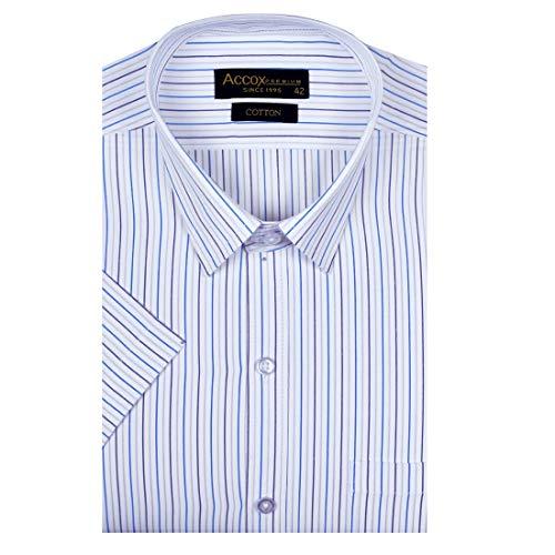 ACCOX Men's Striped Half Sleeves Regular Fit Cotton Formal Checkred Shirts(GCR03)