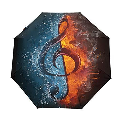 Paraplu zakparaplu volledig automatische 8 ribs paraplu winddicht compact licht stabiel scherm op-to-en-automatisch transportkabel reisscherm | Music Note Water Fire