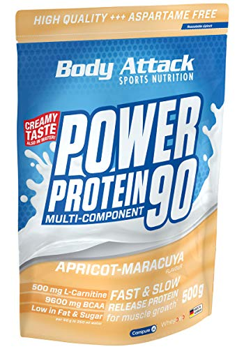 Body Attack Power Protein 90, Apricot-Maracuya Cream, 500g, 5K Eiweißpulver mit Whey-Protein, L-Carnitin und BCAA für Muskelaufbau und Fitness