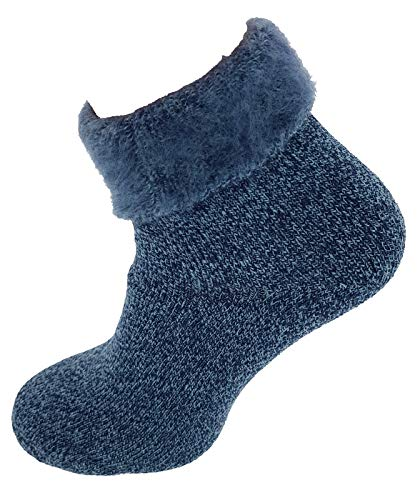 Damen Thermosocken Fluffy superflauschig Kuschelsocken Bettsocken Hüttensocken 39-42 Blau