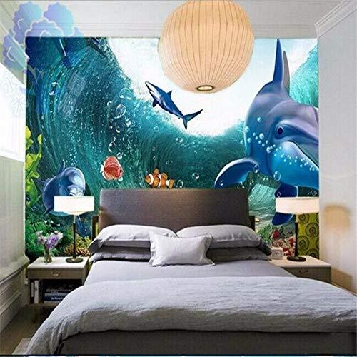Wuyii muurschildering personaliseerbaar, stereo, 3D, voor kinderkamer, woonkamer, aquarium, onderwaterwereld 150 x 120 cm