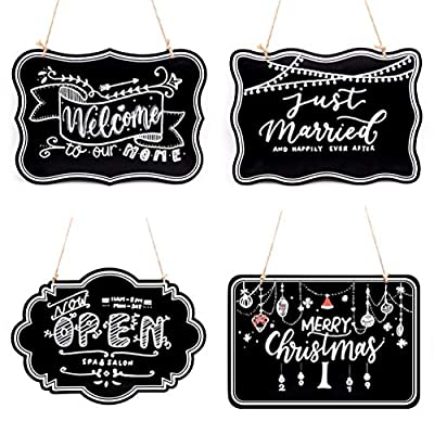 UNIQOOO 10x14 inch Hanging Decorative Chalkboard Sign, Double-Sided Non Porous Wooden Signage Message Board Home Welcome Signs, Perfect for Wedding Cafe Kids Doodling Back to School Decor, Set of 4