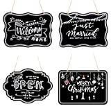UNIQOOO 10x14 inch Hanging Decorative Chalkboard Sign, Double-Sided Non Porous Wooden Sign...