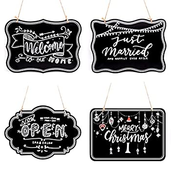 UNIQOOO 10x14 inch Hanging Decorative Chalkboard Sign Double-Sided Non Porous Wooden Signage Message Board Home Welcome Signs Perfect for Wedding Cafe Kids Doodling Back to School Decor Set of 4