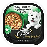 CESAR HOME DELIGHTS Soft Wet Dog Food Turkey, Green Beans & Potatoes Dinner in Sauce, (24) 3.5 oz. Easy Peel Trays