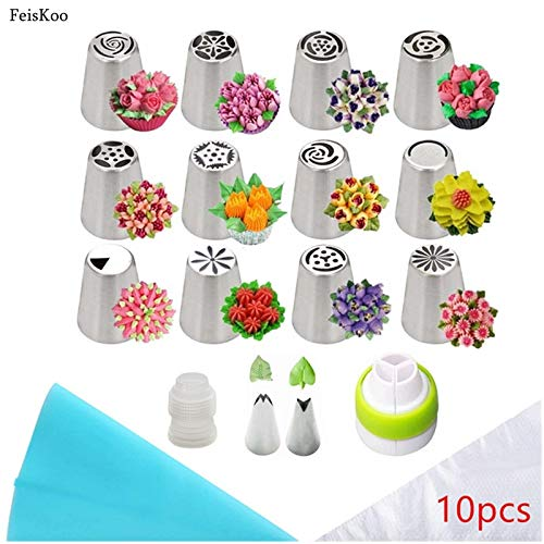 For Sale! Dessert-Decorators tools | 18Pcs/Set Russian Piping Tips Stainless Steel Pastry Nozzles Fo...