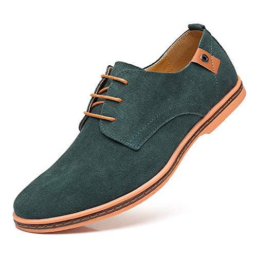 CAGAYA Herren Freizeit Schuhe aus Leder Business Anzugschuhe Atmungsaktiv Lederschuhe Oxford Halbschuhe Party Hochzeit übergrößen 38-46 (Grün, Numeric_46)