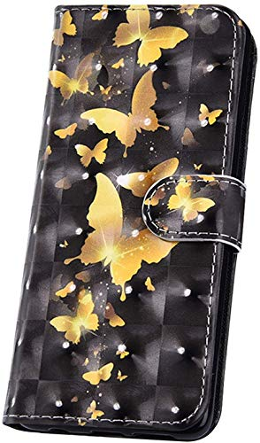 JAWSEU Kompatibel mit Schutzhülle iPhone 11 Pro Hülle Handyhülle,Glitzer Bling 3D Muster PU Leder Hülle Flip Case Cover Brieftasche Case Tasche im Bookstyle Klapphülle,Gold Schmetterling