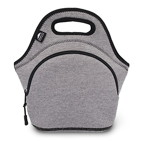 Nordic By Nature Neoprene Lunch Bag for Women Lunch tote for Kids Insulated Lunch bag Reusable Washable Extra Thick Neoprene Soft Cotton Feel Premium Stitching Outside Pocket M GreyBlack