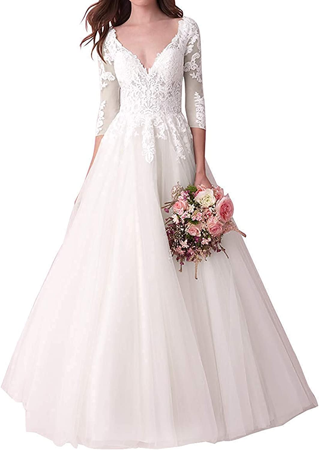 Wedding Dress with Long Sleeve Bride Bridal Dresses Lace Wedding Gowns V Neck
