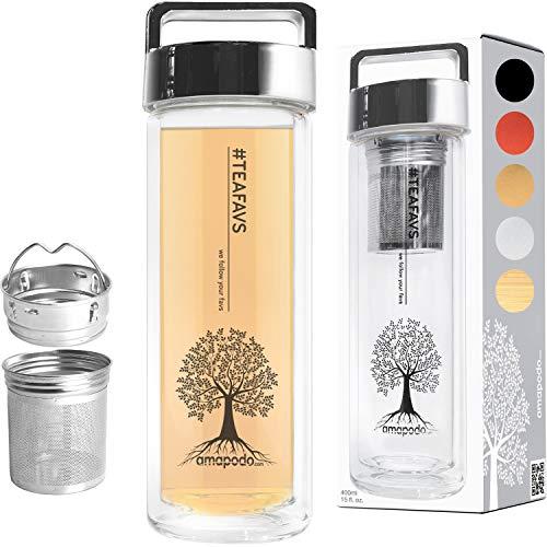 amapodo Teeflasche Teebereiter Teekanne mit Sieb und Deckel 400ml Glas Trinkflasche doppelwandig mit Siebeinsatz für losen Tee