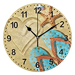 Round Wall Clock Flip Flops and Shells Silent Non Ticking Home Decorative Wall Clock for Kitchen Office School