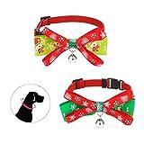 JUPSK - Juego de 2 collares de Navidad para mascotas, collar ajustable con pajarita y campanilla dorada, diseño navideño para el cuello para perros pequeños, gatos, pajarita de mascota accesorios