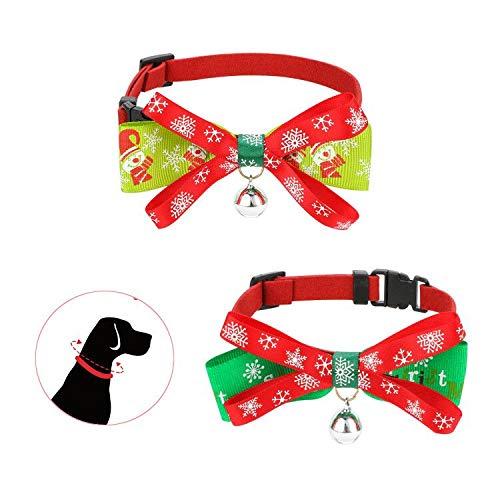 JUPSK - Juego de 2 collares de Navidad para mascotas, collar ajustable con pajarita y campanilla dorada, diseño navideño para el cuello para perros pequeños, gatos, pajarita de mascota accesor