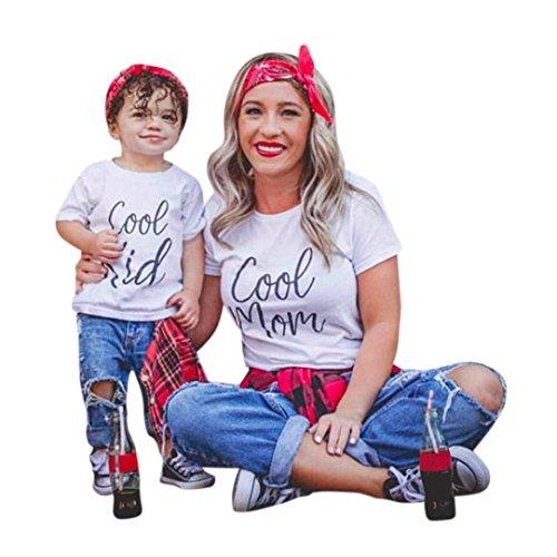 Mutter und Tochter T-shirt, Oyedens Partnerlook Familie Shirtkleid Mom & Me Mädchen Kurzarm Brief T-shirt Bluse Familie Kleidung Niedlichen Sommer Tops Knopf Damen Baby Outfit