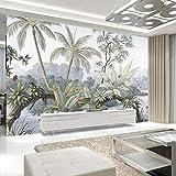 SILK ROAD EU™ Papier Peint Panoramique Jungle Soie, 350 x 250 cm, Poster Geant Mural, Personnalisé 3D, pour Salon Chambre d'enfants restaurant Décoration Murale. Aquarelle Plantes, Lac Tropical