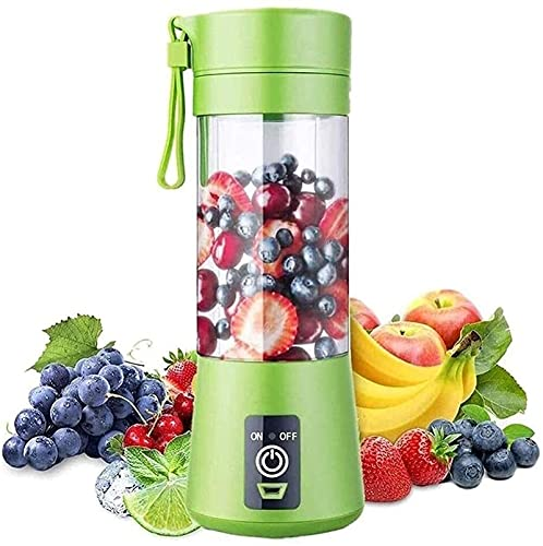vfrt Mini licuadora USB, batidora portátil de 380 ml, seis cuchillas, taza de jugo 3D, pequeña fruta mezcladora personal recargable con para batidos de leche, batidos de frutas y zumo (color: verde)