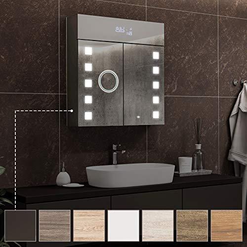 Armario de baño con espejo y luz personalizable Foram – con estación meteorológica – sensor de movimiento, enchufe