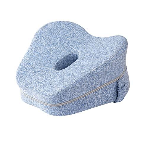 Sagreeny Kniekissen Für Seitenschläfer mit Band, Ergonomisches Seitenschläferkissen aus Memory Foam (Blau)