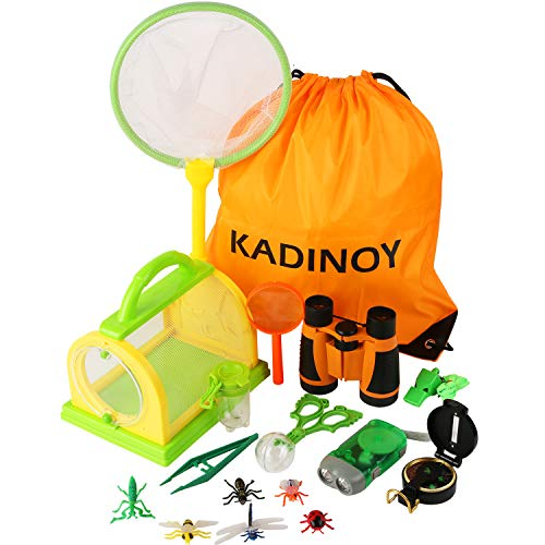 KADINOY Bug Catcher Kit Kids Outdoor Explorer Kit Secience Toys Gifts for Boys Girls Age 4-12 Year Old with Binoculars, Flashlight, Compass, Magnifying Glass,Butterfly Net