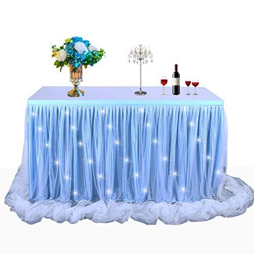 HBBmagic LED Handgefertigte Tischdecke/Tischdeko Tutu Tischrock Für Party, Hochzeit, Geburtstag, Weihnachten, Festival, Carniva, Feier Tischdekoration(Blau,427cm*76cm)