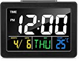 Digital Alarm Clock for Bedrooms, LED Display Desk Clock with USB Port, Snooze Function, Timer, LED Sound Control, Time Temperature, 8 Alarm Settings