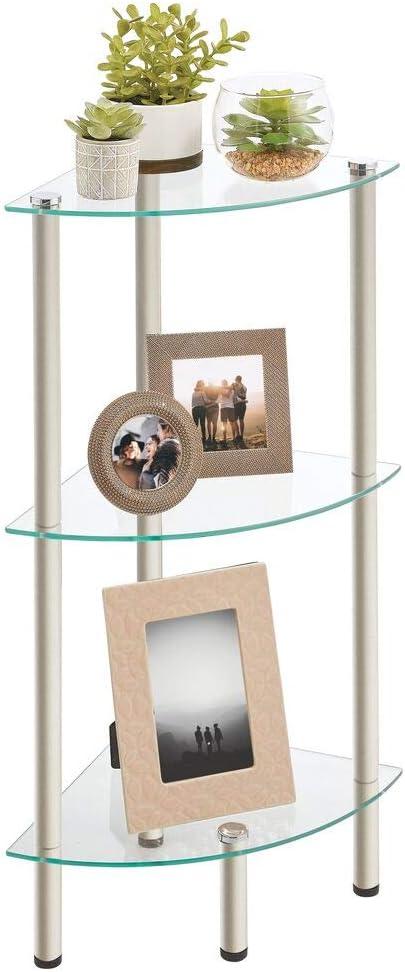 Max 65% OFF mDesign Home Floor Storage Corner Tower Shelv Glass 3 Open Max 50% OFF Tier