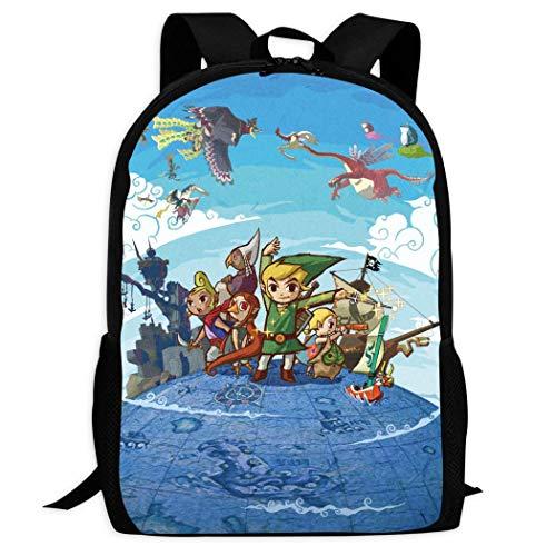Therwd Childrens Adult Outdoor Sports School Backpack,Cool 3D Print ZE/ldA LE-gEnD,Book Bags Shoulder Bag