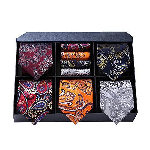 HISDERN 5 klassische schöne, elegante Herren Seidenkrawatte Set-Krawatte & Einstecktuch