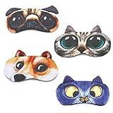 Sleep Mask for Kids Boys Girls Tphon Funny Blindfolds Soft Cute Animal Sleeping Masks with Adjustable Strap for Travel Naps Shift Works Games 4 Pack