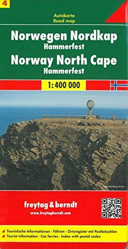 Noruega norte, Cabo Norte, Hammerfest mapa de carreteras. Escala 1:400.000. Freytag & Berndt.: Touristische Informationen. Fähren. Ortsregister mit Postleitzahlen: AK 0658 (Auto karte)