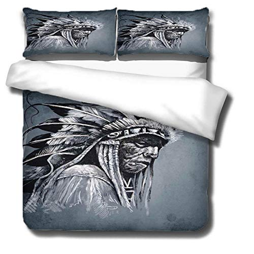 ZLLBF Double Duvet Covers Set 200x200cm Indians,3 Pcs Microfiber Duvet Covers With 2 Pillowcases,Silky Soft Microfiber Bedding Set For Modern Style Bedroom