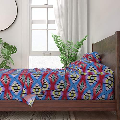 Find Bargain Roostery Sheet Set, Bold Aztec Retro Diamond Square Blue Print, 100% Itallian Cotton Sateen Sheet Set, King