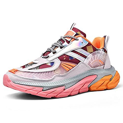 ZZLHHD Cómodas zapatillas absorbentes de espiga,Roundheadlow,breathablecasualthickbottomsportsshoes-Orange_44,Zapatillas de baloncesto