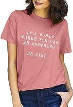 Women's Summer Casual Letter Print Short Sleeve Crew Neck Cotton Tee T Shirt Tops