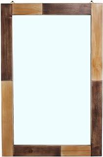 MBQQ 素朴なフラット木製フレーム 壁掛けミラー 装飾バスルームミラー 壁化粧鏡用 メイクアップミラー 24インチ x 36インチ