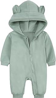 ملابس للبنات الأولاد طفل رومبير لطيف مقنع سترة القفز الرضع الدافئة وتتسابق الشتاء للأطفال (Color : Green, Size : 0-3 Months)