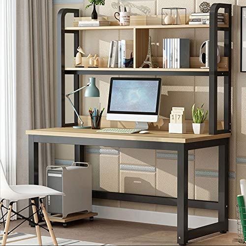 SAFAJINHH Mesa de Ordenador PC,Conjunto de Mesa Escritorio y Librería Combinación Escritorio de Oficina Estudio,Mesa de Estudio Puesto de Trabajo para Casa Oficina-B 120x60x74cm