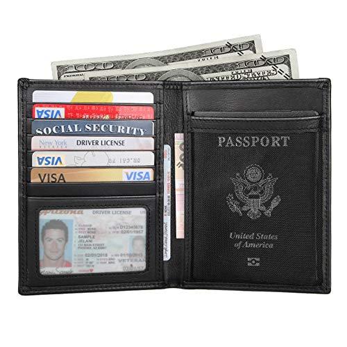 Polare RFID Blocking Napa Leather Passport Holder Travel Wallet For Men and Women (Black)