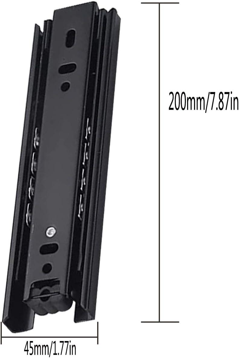 Glissi/ères /à Roulement /à Billes en Glissi/ère de Tiroir,Tianher Glissi/ères de Tiroir en M/étal 200 mm Montage Lat/éral Capacit/é de Charge de 45 kg Glissi/ère pour Tiroir Extension Total 1 paire 8 P