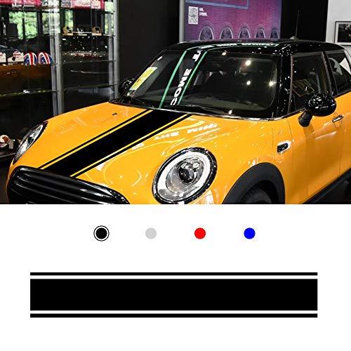 Pegatina para Coche para Mini Hood Etiqueta Decoración De La Carrocería Raya Deportes Carreras De Calcomanía Pegatinas para Falda Lateral 120x25cm Negro