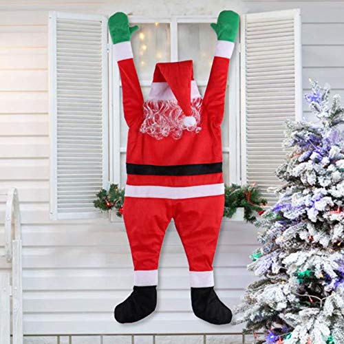 5FT Christmas Hanging Santa Suit from On The Gutter Roof Christmas Outdoor Decoration Realistic Santa Claus Climbing Hanging Decoration Suit Xmas Roof Gutter Yard Decor