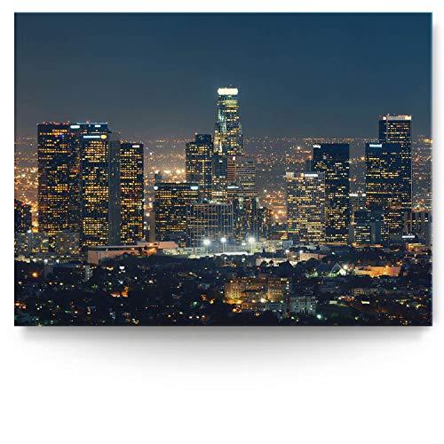 BilderKing Intensiv & Impostant 200x150cm großes Leinwand-Bild. Skyline, Los Angeles nachts als Wandbild auf 4cm tiefen Keilrahmen. Eindrucksvoller können Sie Ihren Raum Nicht in Szene setzen