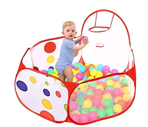 LAAT Ozean Bälle Pool Faltbar Kinder Ball Pit Laufstall Playpen Kleinkind Spiel Zelt Sea Ball Schwimmbad mit Mini Basketball Hoop Kinder Spielzeug Spiel Zelt für Kleinkinder 1,5m